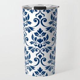 Feuille Damask Pattern Dark Blue on White Travel Mug