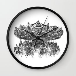 Carousel Drawing | Merry Go Round Art Print Wall Clock