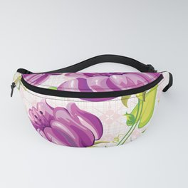 Purple Floral Wallpaper Abstract Design Fanny Pack