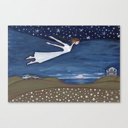 Flying Girl Remembers Her Dreams, or Night Blooming Canvas Print
