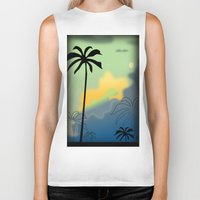 palm trees Biker Tanks featuring Palm trees by Winking Lion