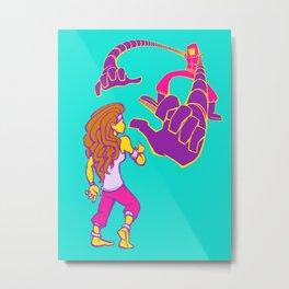 Warrior Princess vs. The Robot Metal Print