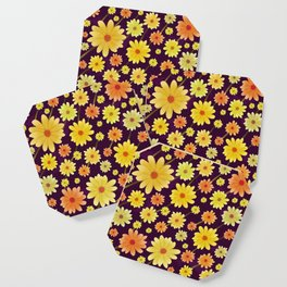 Yellow dots, Yellow Flower, Floral Pattern, Yellow Blossom Coaster