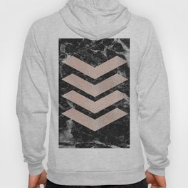 Black marble & rose gold chevrons Hoody