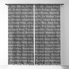 The Ladies of Literature Pattern on Black Sheer Curtain