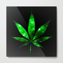 Weed : High Times green Galaxy Metal Print