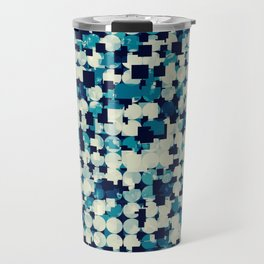geometric square and circle pattern abstract in blue green Travel Mug