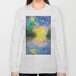Crescent Moon Reflection Galaxy watercolor by CheyAnne Sexton Long Sleeve T-shirt