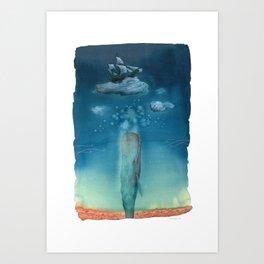 Moby Dick Dreams - Watercolor - Sperm Whale Art Print