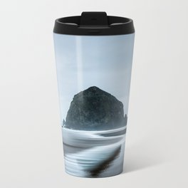 Incoming Waves Recede During Rainy Weather at Haystack Rock in Cannon Beach, Oregon Metal Travel Mug