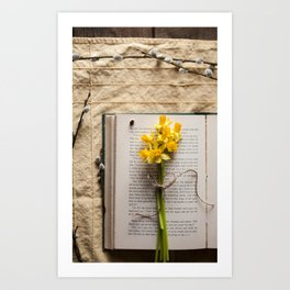 Spring Reading -Yellow Art Print