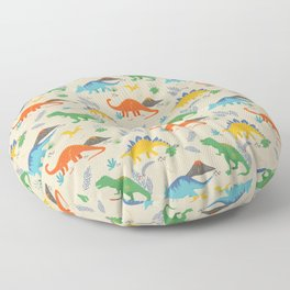 Jurassic Dinosaurs in Primary Colors Floor Pillow