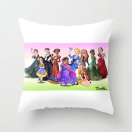 """Ten Real-World Princesses Who Don't Need Disney Glitter"" Trumble Cartoon Throw Pillow"