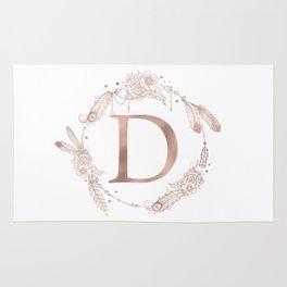 Letter D Rose Gold Pink Initial Monogram Rug