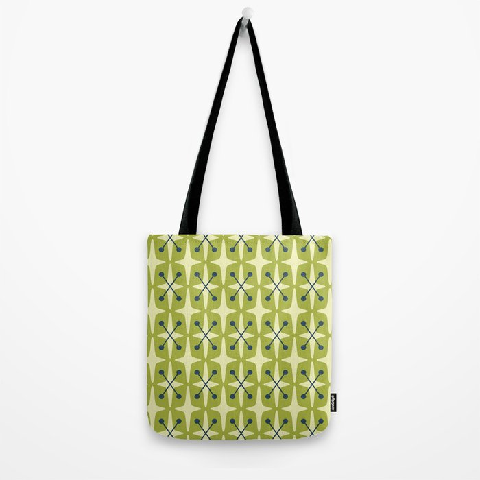 Mid Century Modern Star Pattern 541 Chartreuse Tote Bag