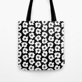 Linocut botanical nature floral flower art nursery black and white decor newborn Tote Bag