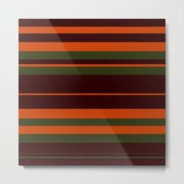 Pattern Bandes Colors Marron/Orange Metal Print