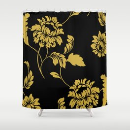 Victorian Floral (Black & Gold) Shower Curtain