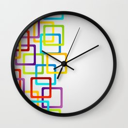 Rounded edge squares in multiple colors Wall Clock