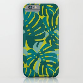 Monstera Leaves in Teal iPhone Case