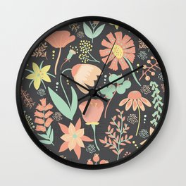 Peachy Keen Wildflowers Wall Clock