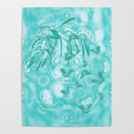 Abstract butterflies in teal landscape Poster