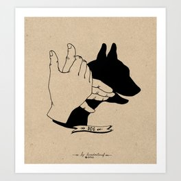 Hand-shadows Mr Dog Art Print