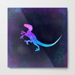 VELOCIRAPTOR IN SPACE // Dinosaur Graphic Art // Watercolor Canvas Painting // Modern Minimal Cute Metal Print