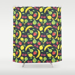 Illustrated fruits pattern on a black background Shower Curtain