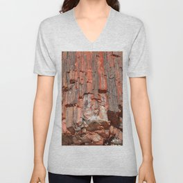 Agathe Log Texture Unisex V-Neck