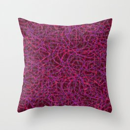 Red scribbled lines pattern Throw Pillow