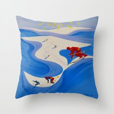 Vintage Winter Sports in France Travel Throw Pillow