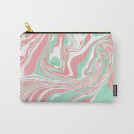 Elegant pink green abstract watercolor marble Carry-All Pouch