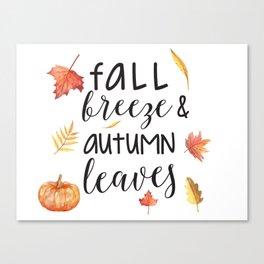 Fall breeze, autumn leaves Canvas Print