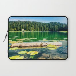 Wonderful small altitude french Genin lake in middle of wild pine forest in summer in Jura mountains Laptop Sleeve