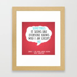 Simon vs the Homo Sapiens Agenda quote Framed Art Print