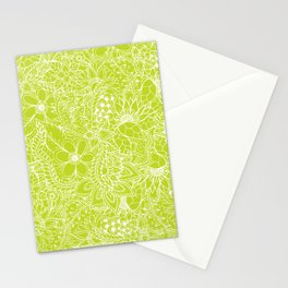 Modern white hand drawn floral lace illustration on lime green punch Stationery Cards