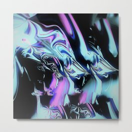 blue pink aurora at night sky abstract painting Metal Print