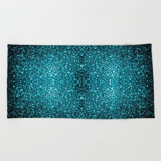 Beautiful Aqua blue glitter sparkles Beach Towel