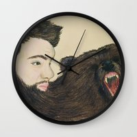 beard Wall Clocks featuring BEARd by Casie Tanksley