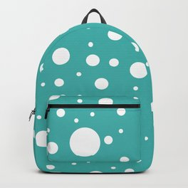 Mixed Polka Dots - White on Verdigris Backpack