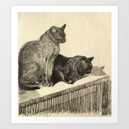 """Théophile Steinlen """"Deux Chats Sur Un Meuble"""" Art Print"""