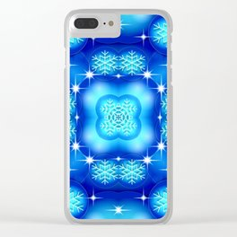 Christmas blue white snowflake pattern SB7 Clear iPhone Case