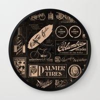cycling Wall Clocks featuring Re. Cycling by NOT MY TYPE