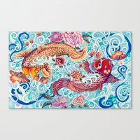 koi fish Canvas Prints featuring Koi Fish by Art by Risa Oram