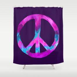 Purple Turquoise Watercolor Tie Dye Peace Sign on Purple Shower Curtain