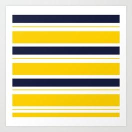 Yellow and Blue Horizontal Lines Stripes Art Print