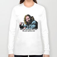 big lebowski Long Sleeve T-shirts featuring The Big Lebowski Quotes by Guido prussia