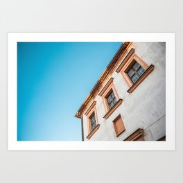 Old House and Bright Blue Sky Art Print