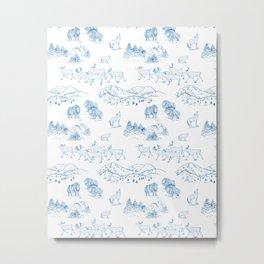Arctic Wildlife Pattern (White and Blue) Metal Print
